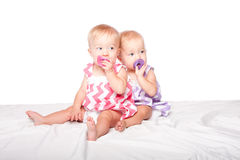 Pacifier twins Royalty Free Stock Image
