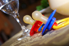 Pacifiers - Soothers. Tow Pacifiers - Soothers (baby's dummies) on a table Stock Photography