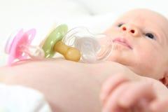 Pacifiers wirh младенца различные ортодонтические Стоковое Изображение