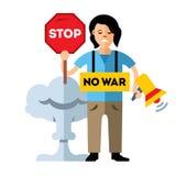 pacifism Ninguna guerra Mujer de la protesta Ejemplo colorido de la historieta del vector del estilo plano ilustración del vector