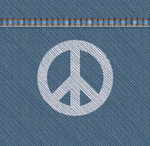 Pacifism Symbol On Denim Stock Photos