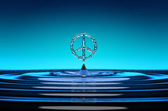 Pacifism Symbol shaped water drops Stock Photography