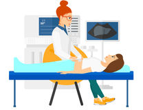 Pacjent pod ultradźwięku egzaminem royalty ilustracja