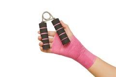 pacjent ręka z ręka chwyta ćwiczeniem Fotografia Royalty Free