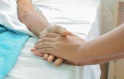 Pacjent szpitala ręki dbać Obrazy Stock