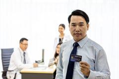 Pacjent z kredytową kartą dla asekuracyjnego pojęcia obraz royalty free