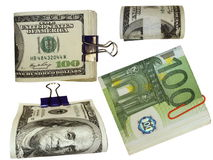 Pack $100 dollar bills and euro Stock Image