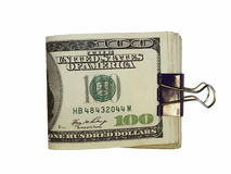 Pack $100 dollar bills and paper clip isolate. On white background Stock Photography