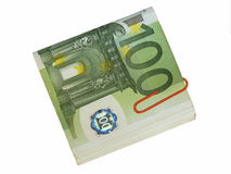 Pack 100 euro bills and paper clip isolate Royalty Free Stock Photo