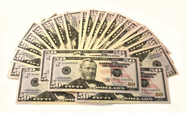 Pack of 50 dollars. Banknotes close up Stock Images