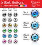 Pack of 6 web buttons. With 6 colors available and 3 position of mouse: Mouse out the button (normal position), mouse over the button (the button lights up) and Stock Images