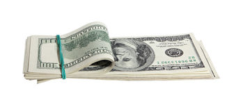 Pack of American money. On the white background Royalty Free Stock Photo