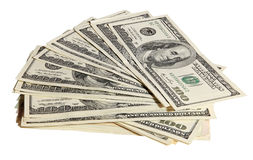 Pack of American money. On the white background Stock Photo