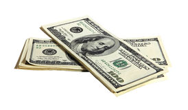 Pack of American money on the white background Royalty Free Stock Photo