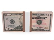 Pack of banknotes. Fifty dollars. 3D illustration Royalty Free Stock Photography