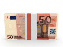 Pack of banknotes. Fifty euros. Stock Photography