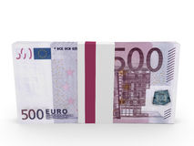 Pack of banknotes. Five hundred euros. Royalty Free Stock Photo