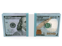 Pack of banknotes. New one hundred dollars. 3D illustration Royalty Free Stock Image