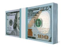 Pack of banknotes. New one hundred dollars. 3D illustration Stock Photography