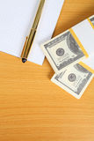 Pack of banknotes and notebook Royalty Free Stock Photos