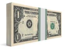Pack of banknotes. One dollar. 3D illustration vector illustration