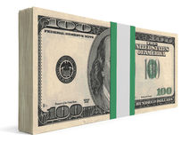Pack of banknotes. One hundred dollars. 3D illustration Royalty Free Stock Photography