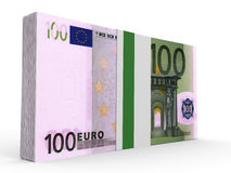 Pack of banknotes. One hundred euros. 3D illustration royalty free illustration