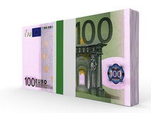 Pack of banknotes. One hundred euros. 3D illustration vector illustration