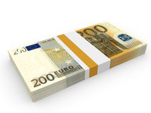 Pack of banknotes. Two hundred euros. 3D illustration Royalty Free Stock Photography