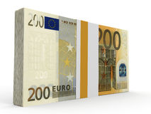 Pack of banknotes. Two hundred euros. 3D illustration Stock Photos