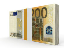 Pack of banknotes. Two hundred euros. 3D illustration Stock Photo