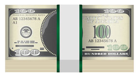 Pack of $100 banknotes on a white background. A pack of $100 banknotes on a white background Stock Photo