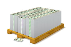 Pack of banknotes on a wooden pallet. Stock Photography