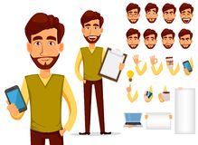 Pack of body parts and emotions. Vector character illustration in cartoon style. Business man with beard. Cartoon character creation set. Young handsome vector illustration