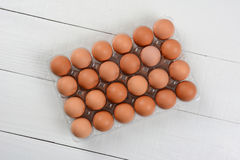 24 Pack of Brown Eggs Stock Photo