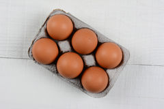 6 Pack Brown Eggs Royalty Free Stock Images