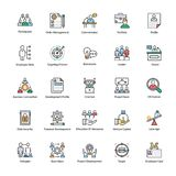 Pack of Business Management Flat Icons. A colored flat icons set of business management with all related icons. A wide range including financial aspects, market Stock Photos