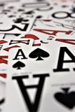 Pack of cards close up. Selection of cards with ace of spades as main focus Royalty Free Stock Photo