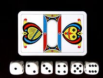 Pack of cards and dice set Stock Images