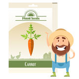 Pack of Carrot seeds icon Stock Images