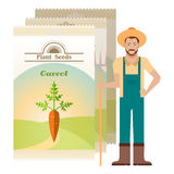Pack of Carrot seeds icon Royalty Free Stock Photography