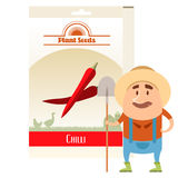 Pack of Chilli seeds icon Royalty Free Stock Photo