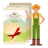Pack of Chilli seeds icon Royalty Free Stock Image