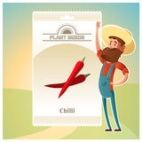 Pack of Chilli seeds icon Stock Photography