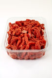 Pack of chopped red beef Stock Photo