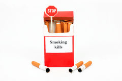 Pack of cigarets, butts and sign  Stock Image