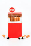 Pack of cigarets and sign  Stock Image