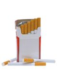 Pack of cigarettes. Open pack of cigarettes and a cigarette on a white background Stock Photography