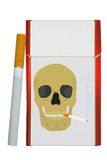 Pack of cigarettes. The closed pack of cigarettes with a skull illustration on a white background Royalty Free Stock Photo