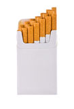 Pack of cigarettes. With cigarettes sticking out isolated on white stock image
